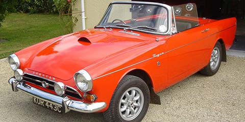 Image of This Sunbeam Tiger had its bonnet modified to include louvres and air intake scoop