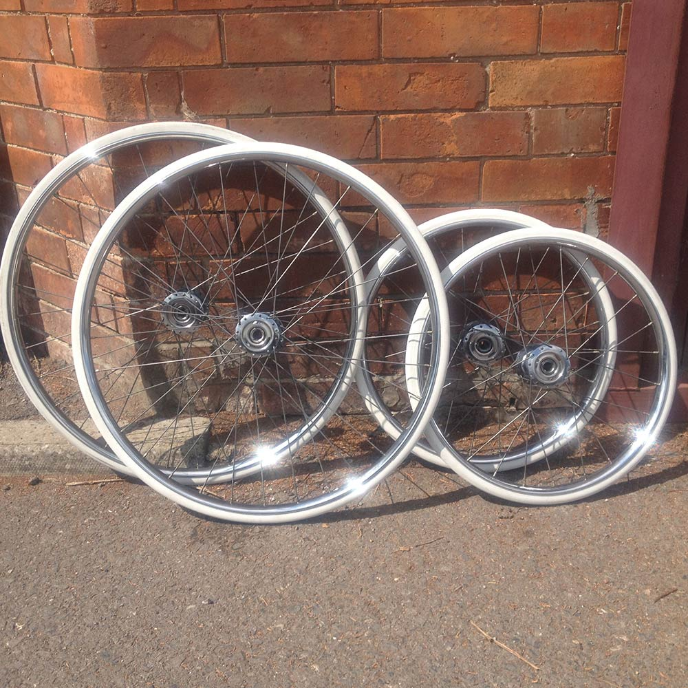 Image of Silver cross pram wheels re chromed and hubs rebuilt