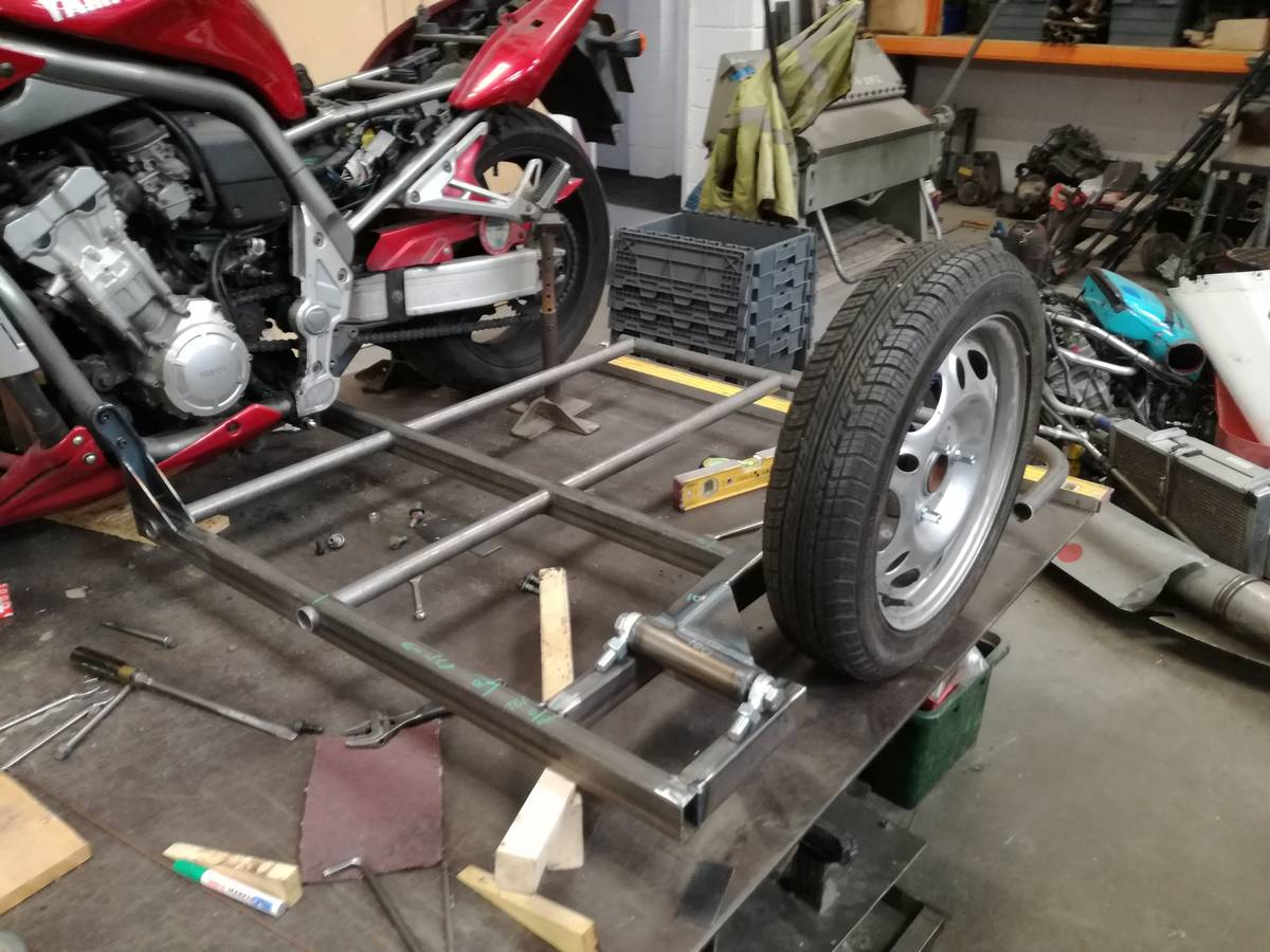 Image of The sidecar floor support take shape