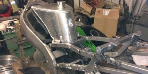Image of Alloy fuel tank and GRP silhouette cover for Kawasaki ZXR400 race bike