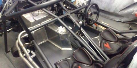Image of Seat and chassis detail of kit car built in our workshop