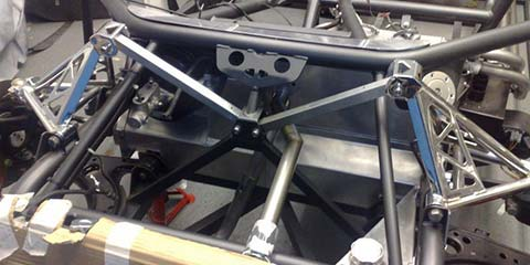 Image of Front suspension detail of kit car built in our workshop