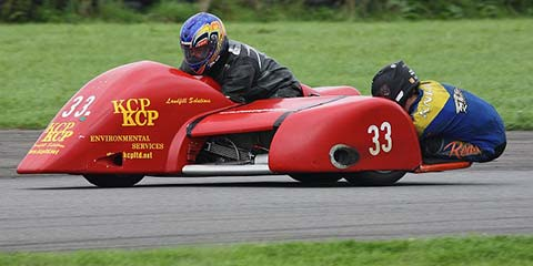 Paul Lumley - #33: Paul races F2 sidecar outfit number 33 in the Bemsee (British Motorcycle Racing Club) championship.