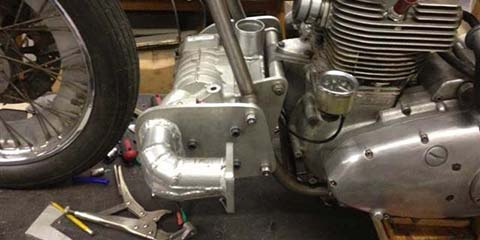 Image of This supercharged Triumph Trident sprint bike takes shape in our workshop